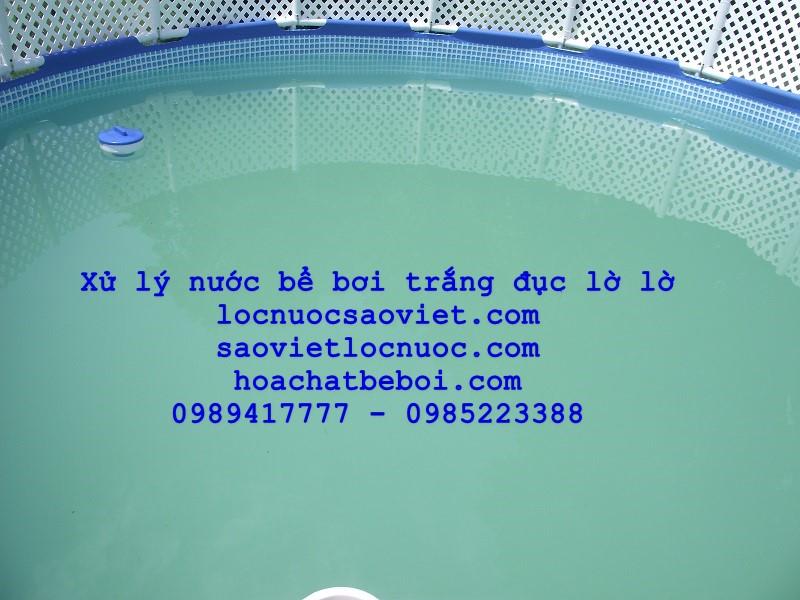 xử lý nước bể bơi trắng đục lờ lờ
